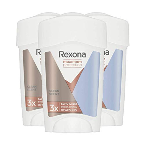 Rexona Maximum Protection Crema Antitranspirante Clean Scent, 45ml - Pack de 6