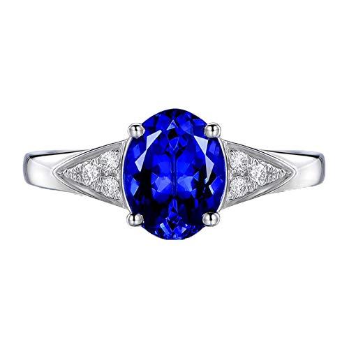 AueDsa Anillo de Mujer Plata Azul Anillos de Oro Blanco 18K Mujer Oval Tanzanita Azul 1.45ct Diamante 0.07ct Talla 20