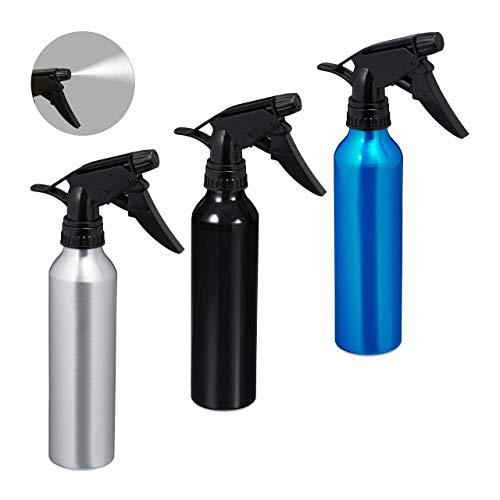 Relaxdays Sprühflasche, 3er Set, 300 ml, nachfüllbar, Zerstäuberflasche für Haushalt und Kosmetik, Aluminium, Farbmix, Mehrfarbig, 3 Stück