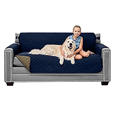 Sofa Shield Original Patent Pending Small Sofa Slipcover, Many Colors, Seat Width to 62 Inch, Reversible Furniture Protector with Straps, Couch Slip Cover Throw for Pet Dogs, Kids, Cats, Navy Sand by Hills Point Industries, LLC