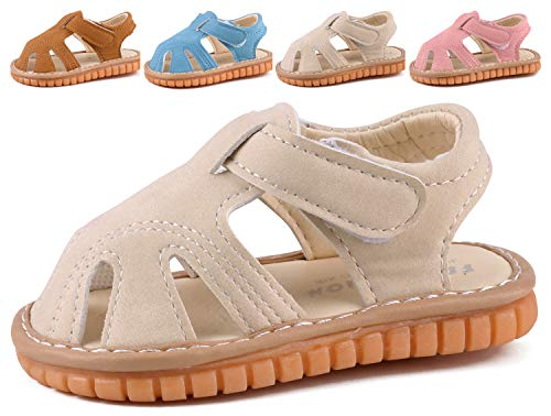 Boys Girls Summer Squeaky Sandals Closed-Toe Anti-Slip Premium Rubber Sole Toddler First Walkers Shoes Beige 1301-BG19(Foot length 13cm/5.1in)