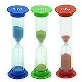 TeacherFav Sand Timer for Kids Set of 3 Small Colorful Hour Glass Acrylic Covered Clock 1Min 2Min 5Min for Classroom, Home & Kids Room
