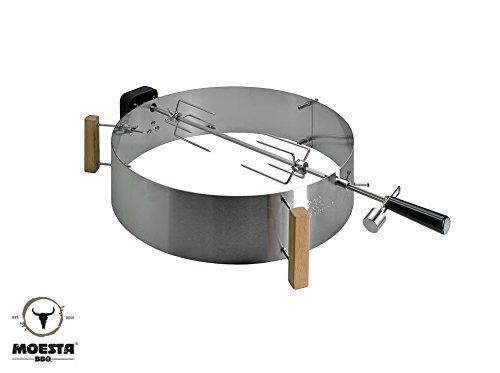 Moesta-BBQ 10228 Rotisserie-Set mit Smokin' PizzaRing – Moesta Drehspieß mit kabellosem Batterie-Motor für Grill-Hähnchen u.v.a.- Für Kugel-Grills mit 58cm Ø