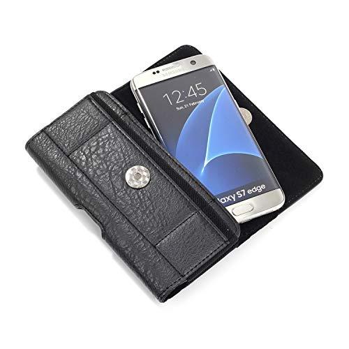 SZCINSEN Funda tipo cartera para Samsung Galaxy Note 10/S10/S20/S7edge/Note 5/Note 4/Note 3, funda de cuero para cinturón de 5.5 pulgadas (color negro)