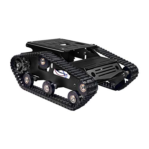 XiaoR Geek Smart Robot Car Chassis Kit Aluminum Alloy Big Tank Chassis with 2WD Motors for Arduino/Raspberry Pi DIY Remote Control Robot Car Toys - Free Tools (Black)