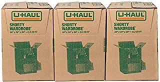 "U-Haul Shorty Wardrobe Box – Pack of 3, 24"" x 24"" x 34""- Wardrobe Bars Included"