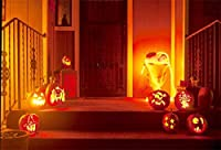 HD 7x5ftジャック-O-ランタンハロウィン写真の背景家閉じたドアの家玄関のハロウィン装飾照明パンプキンランプの背景ビニールビデオドレープフォトスタジオ小道具