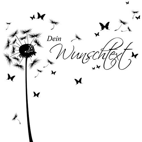 Wandtattoo Pusteblume Schmetterling mit Ihrem Wunschtext/dunkelgrau / 1,14 m Höhe x 3,59 m Breite