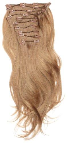 Love Hair Extensions - LHE/A1/QFC/120G/10PCS/18/18 - 100 % Cheveux Naturels Lisses et Soyeux - 10 Pièces Clippants en Extensions - Couleur 18 - Blond Cendré - 46 cm