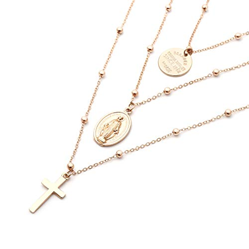 Edary Layered Necklace Gold Cross Buddha Coin God Pendant Jewelry for Women and Girls