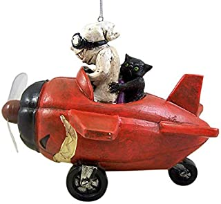 RAZ Imports Animated Light Up Ghost with Red Airplane Decorative Halloween Figurine, 7 Inches