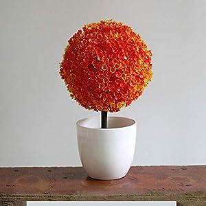 Silk Flower Arrangements SHUNYUS Simulation Plant Pots, Artificial Design Sakura Snowballs Potted Hand-Made Plants Potted Artificial Flower Decorative Pots-#4, Sunset Red