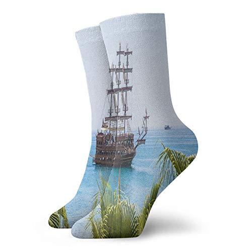 Calcetines suaves de longitud media de pantorrilla, velero en azul claro, palmeras marinas, exploración soleada del día de verano, calcetines para mujeres y hombres, ideales para correr