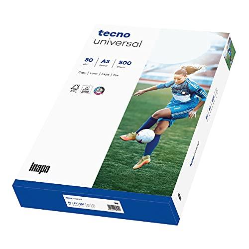 inapa Drucker-/Kopierpapier tecno Universal: 80 g/m², A3, 500 Blatt, weiß – Allround-Papier