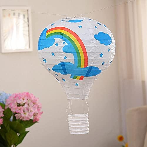 Fensterpapier Heißluftballon Deko Papierlaterne Deckenhänger (Farbe: weißer Regenbogen)