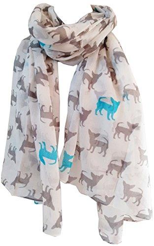 Sciarpa con stampa chihuahua, sciarpa per cani, animali da donna, lunga e grande cuccioli GlamLondon. bianco L