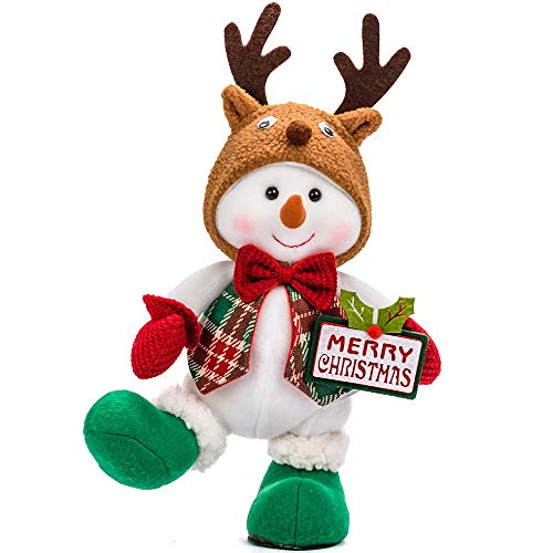 YING LING CRAFTS Christmas Snowman Plush Xmas Decor Snowmen Christmas Stuffed Animal Plush Decoration Festival Holiday for Kids Gifts Boy Snowman with Reindeer Hat 428A