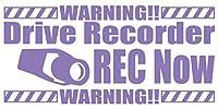 カッティングステッカー DriveRecorder REC Now(ドライブレコーダー録画中) 約80mmX約170mm ラベンダー 薄紫