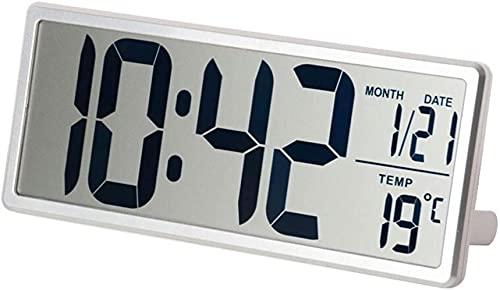 FAWFDF Relojes de cabecera Reloj Despertador electrónico Creativo Pantalla Grande Reloj Despertador Digital Pantalla LCD con Fecha y Hora Pantalla de Temperatura