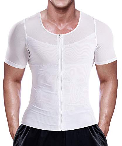 LaLaAreal Hombre Camisa Adelgazante Reductora Faja Delgada con Cremallera Transpirable Deporte Correr