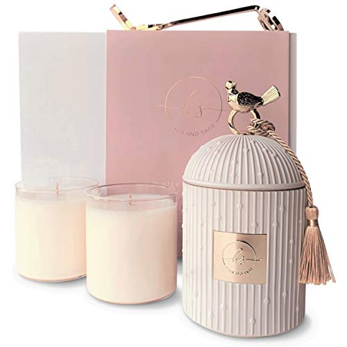 HAUS AND SAGE Luxury Candle Holder Gift Set with 2 Candles for Home Scented   4 Piece Large Candle Set - 8.5 oz Soy Candle Refills   Centerpieces for Dining Room Table Home Decor   Premium Gift Box