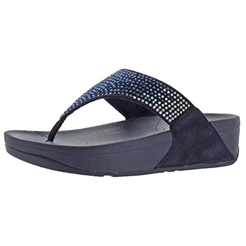 FitFlop Flare Women's Rhinestone Thong Wedge Sandals Navy Size 9