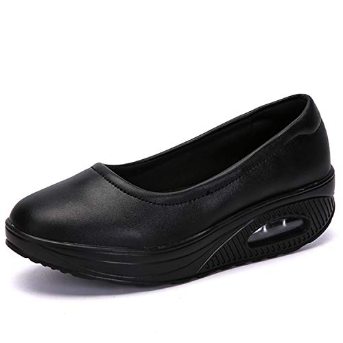 [Sunlane] レディース ナースシューズ スニーカー 厚底 ダイエットシューズ 安全靴 ナースシューズ 看護師 介護士 通気性 柔軟性 通気 エアクッション付き お母さん 婦人靴 軽量 スボーツスニーカー ブラック 23.5cm