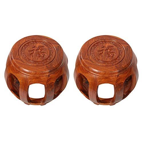 Taburete de bar 2PCS, taburete de tambor de caoba de bendición china, taburete de madera maciza antiguo, muelle de tambor de palisandro, muelle para sentarse, taburete guzheng, taburete bajo de