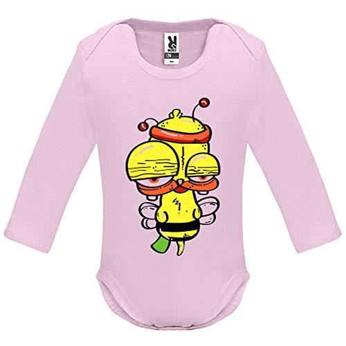 LookMyKase Body bébé - Manche Longue - Funny Bee - Bébé Fille - Rose - 12MOIS