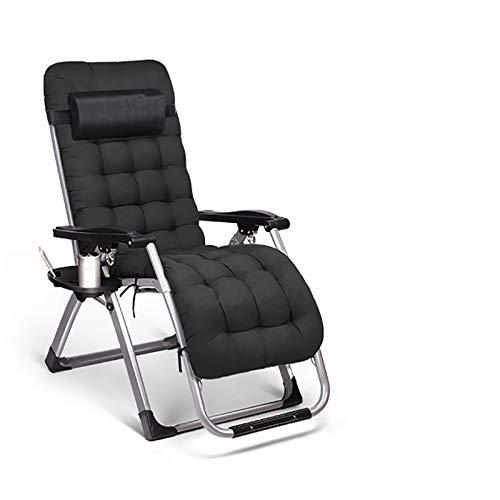 Klappstuhl Im Freien Folding Zero Gravity Chair Liegestühle Sonnenliege, Breitere Armlehne Einstellbare Lehnstuhl, hergestellt aus Stahlrahmen, for Terrasse, Wintergarten (Color : Black)