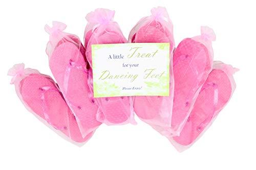 Modo 10 Paar Rosa Flip-Flops-Partypackung Jedes Paar ist in Einem schönen Rosa Organzabeutel mit Schleife verpackt. Enthält 2 kleine 35-36, 5 mittlere 38-39 und 3 große 40-41 Paare