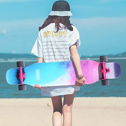 MKJYDM Scooter Maple Long Board Brush Street Dance Board Cuatro Ruedas Doble Skateboard Skateboard Principiante Teen Boy Girl Profesional Skateboard patineta (Color : F)