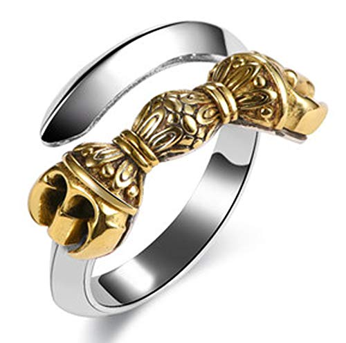 RXISHOP Men's Ring, 925 Silver Open Adjustable Vajra Ring, Wedding Engagement Jewelry, Father's Boyfriend Gift Ring