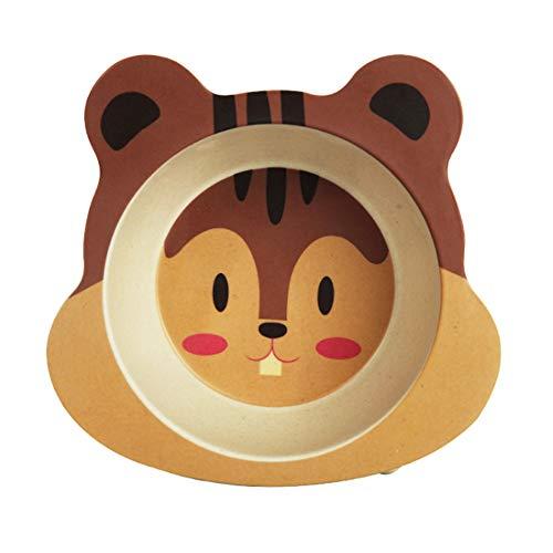NaiCasy Garçons et Filles Bol et saladier Bébé de l'alimentation Vaisselle Plateau en Fibre de Bambou Bowl écureuil Type 1pc