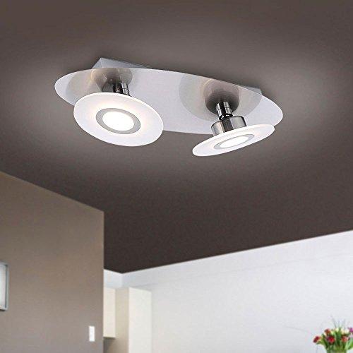 Paul Neuhaus Design/Modern/plafondlamp/plafondlamp/lamp Ragna 2-pits staal/zilver/nikkel mat/binnenverlichting/woonkamer/slaapkamer/keuken metaal rond/ovaal/in
