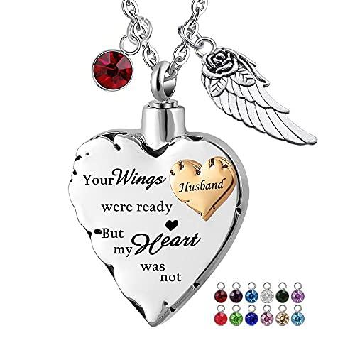 UGBJ Cremación Collar Collar de urna de entierro de Incendios Viene con 12 alas de Nacimiento y alas de ángeles Joyas de Ceniza corazón Memorial Recuerdo Colgante para Mujeres