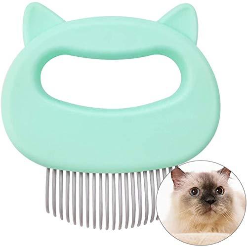 Cat Dematting Comb Massage Entspannende Cat Comb Pet Brush Hundepflege Haarentfernung Reinigungskamm Massagegerät (A_Green)