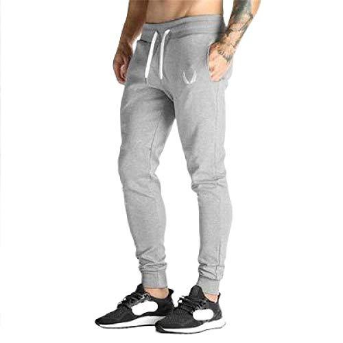 Pantalon de Sport pour Hommes Pantalon Mince Coupe-Vent Impression de Mode Cordon de Serrage Confortable Pantalon de Jogging en Coton de Couleur Unie