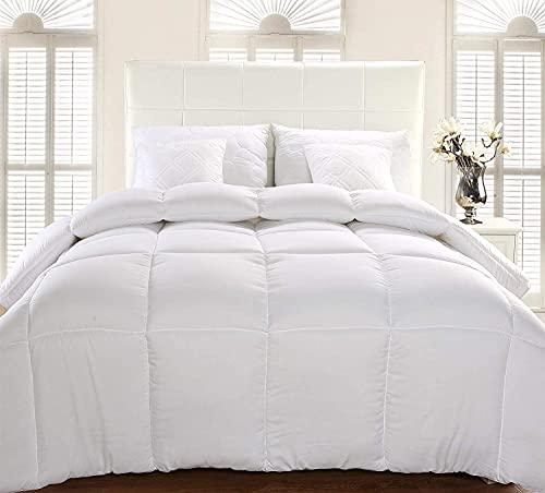 Utopia Bedding Bettdecke 155 x 220 cm - Zudecke 1260g Füllung - Gesteppte Steppdecke (Weiß, 155 x 220 cm)