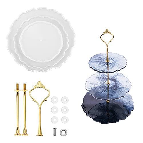 Set di stampi in resina epossidica fai da te con vassoio rotondo a 3 piani + corona, in resina, per decorazione della casa, artigianato (bianco e oro)