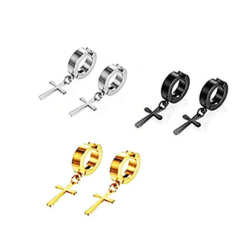 Stainless Steel Ear Clip Non-piercing Clip on Earrings with Dangling Cross for Men and Women (3 Colours(3pairs))