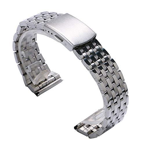 ZXF Correa Reloj, 18mm / 20mm / 22mm Plata del Acero Inoxidable Correa de Reloj de Pulsera de Reloj de Las Mujeres de los Hombres y de Las Pulsera (Band Width : 20mm)