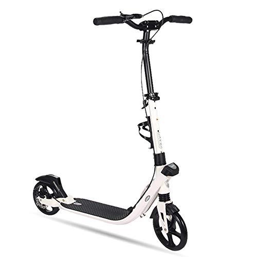 Bicicleta de equilibrio plegable, patinete de freno doble para adultos y niños, 2 ruedas grandes City Street Scooter, marco de aluminio portátil ajustable en altura, carga máxima de 220 libras
