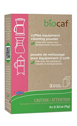 Urnex Biocaf Machine Cleaner-Cleaning Powder-3 Single Use Packets-Compatible with Keurig Delonghi Nespresso Ninja Hamilton Beach Mr Coffee B, Blue