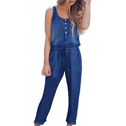PAOLIAN Pantalones Monos Vaquero Larga para Mujer Verano 2018 Casual Ropa para Mujer Fiesta Pantalones de Vestir Sólido Denim Pantalones Anchos Sin Mangas Pretina Elástica