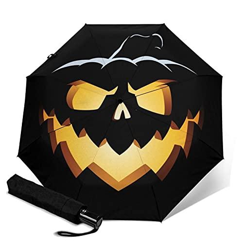 傘 レインウェア 折りたたみ傘 日傘 軽量 邪悪なジャックオランタン、笑顔の広い 晴雨兼用 耐風構造 高耐久度 超撥水 梅雨対策 収納ポーチ付き