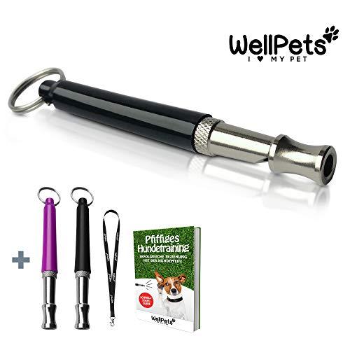 Profi-Hundepfeife 3 Stück | 4x Bonus inkl. 2 Ersatz-Pfeifen, 1 Umhängeband und Ebook Hundetraining | Ultraschall, Hochfrequenz, Verstellbar und Leise