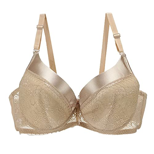 TELIMUSSTO Women's Underwire Bra Plus Size Lingerie Push up Lightly Padded Comfort 46A Beige