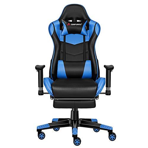 JL Comfurni Gaming Stuhl Bürostuhl Ergonomischer Computerstuhl mit Fußstütze 360° drehbar Racing Lehnstuhl Chefsessel höhenverstellbar Schreibtischstuhl mit verstellbaren Armlehnen aus Kunstleder Blau