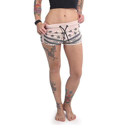 Yakuza Damen Skull N Stars Sweat Shorts, Crystal Pink, S